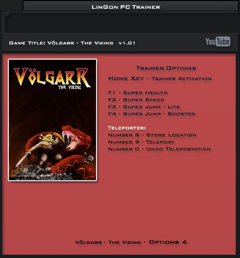 Völgarr: The Viking v1.01 Steam +4 Trainer [LiNGON]
