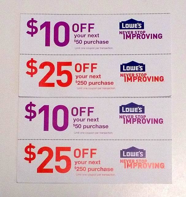 Four LOWE'S LOWES HOME DEPOT Store Coupon★(2) $10 Off $50 ...