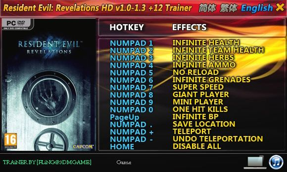 Resident Evil: Revelations HD 1.0-Update 3 +12 Trainer [FliNG]